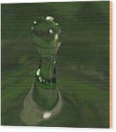 Water Drop Abstract Green 19 Wood Print