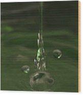 Water Drop Abstract Green 24 Wood Print