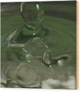 Water Drop Abstract Green 28 Wood Print