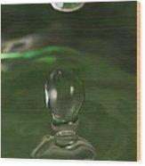 Water Drop Abstract Green 37 Wood Print