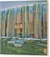Water Fall Building Wood Print