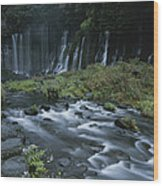 Water Falling And Flowing Over Rocks Wood Print