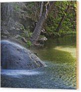 Water Falling On Rock Wood Print