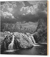 Water Falls At The Aquasabon River Mouth Wood Print