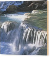 Water Flowes Over Travertine Formations Wood Print