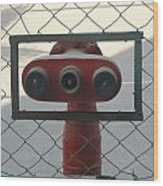 Water Hydrants Built Into A Wire Mesh Fence Wood Print