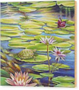 Water Lilies At Mckee Gardens I - Turtle Butterfly And Koi Fish Wood Print