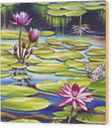 Water Lilies At Mckee Gardens II - Butterfly And Frog Wood Print by Nancy Tilles