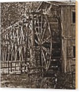Water Mill In Action Wood Print by Douglas Barnett