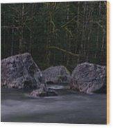Water Moving Around Rock Wood Print