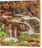 Water Over The Rocks Wood Print