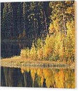 Water Reflection At Jade Lake In Northern Saskatchewan Wood Print