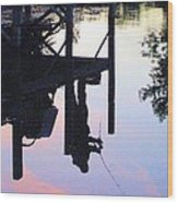 Water Reflection Of A Fisherman Wood Print