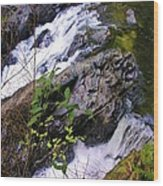 Water Running Down Ledge Wood Print