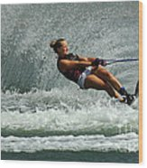 Water Skiing Magic Of Water 2 Wood Print by Bob Christopher