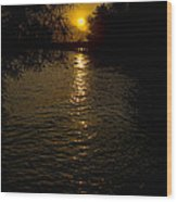 Water-sunset Wood Print