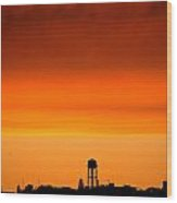 Water Tower And Sunset Wood Print