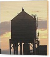 Water Tower At Sunset Wood Print