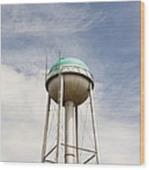 Water Tower With A Cellphone Transmitter Wood Print by Paul Edmondson