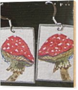 Watercolor Earrings Amanita Wood Print