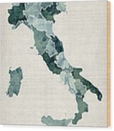 Watercolor Map Of Italy Wood Print