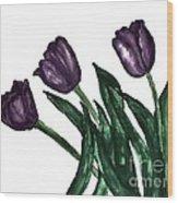 Watercolor Purple Tulips Wood Print