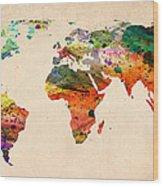 Watercolor World Map  Wood Print