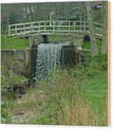 Waterfall And Bridge Wood Print