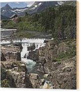 Waterfall At Many Glacier Wood Print