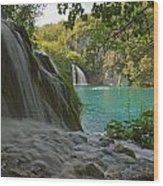 Waterfall At Plitvice National Park In Wood Print
