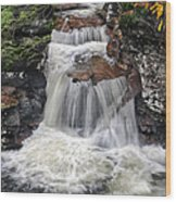 Waterfall At Ricketts Glen Wood Print