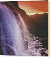 Waterfall At Sunset, Bugaboo Glacier Wood Print