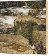 Waterfall In Fall Wood Print
