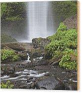 Waterfall In Gorge - Columbia River Gorge Wood Print