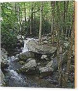 Waterfall In Stream Wood Print