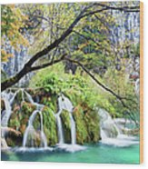 Waterfall In The Plitvice Lakes National Park Wood Print