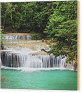 Waterfall In Tropical Forest Wood Print