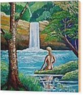Waterfall Nymph Wood Print