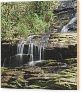 Waterfall Over Rocks Wood Print
