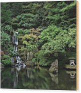 Waterfall - Portland Japanese Garden - Oregon Wood Print