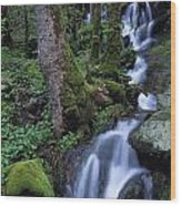 Waterfall Pouring Down Mountainside Wood Print