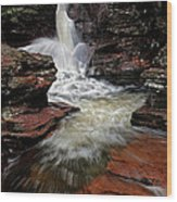 Waterfall Ricketts Glen Wood Print