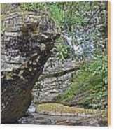 Waterfall Rock Wood Print