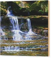 Waterfall Trio At Mcconnells Mill State Park Wood Print