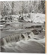 Waterfall With Fresh Snow Thunder Bay Wood Print by Susan Dykstra