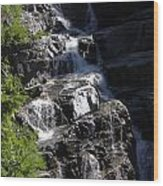 Waterfalls Along Going-to-the-sun Road Wood Print