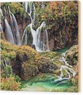 Waterfalls In Autumn Scenery Wood Print