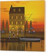 Waterfront Ocean Scene Wood Print