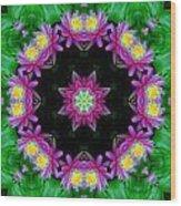 Waterlily Kaleidoscope Wood Print