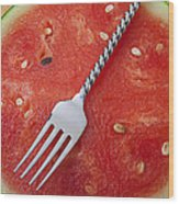 Watermelon And Fork Wood Print